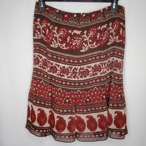 Jones Wear Brown Boho Print Midi Skirt 10P